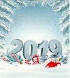 С Рождеством Христовым предпосылка с 2019 иллюстрация штока