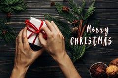 С Рождеством Христовым приветствие знака текста на стильном плоском положении с рукой Стоковые Фото