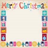 С Рождеством Христовым ретро поздравительная открытка с космосом экземпляра иллюстрация штока