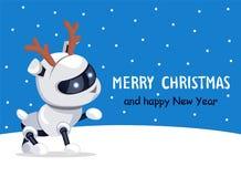 С Рождеством Христовым робототехническая иллюстрация вектора собаки Стоковое Изображение