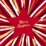 С Рождеством Христовым роскошная поздравительная открытка формы звезды иллюстрация вектора