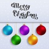 С Рождеством Христовым рукописной текст изолированный литерностью с Colorfu Стоковые Изображения RF