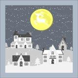 С Рождеством Христовым северный олень на луне Стоковое Изображение RF