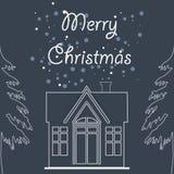 С Рождеством Христовым сезон с иллюстрацией дома и сосны на d иллюстрация вектора