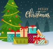 С Рождеством Христовым стилизованное оформление Куча красочных в оболочке подарочных коробок перед рождественской елкой иллюстрация штока