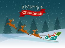 С Рождеством Христовым стилизованное оформление Санта Клаус на розвальнях и оленях с подарками и рождественской елкой иллюстрация вектора