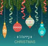С Рождеством Христовым стилизованное оформление иллюстрация вектора