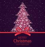 С Рождеством Христовым, счастливая поздравительная открытка Нового Года Рождественская елка с красным смычком и падая снег на тем бесплатная иллюстрация