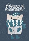 С Рождеством Христовым текст литерности каллиграфии Поздравительная открытка Xmas скандинавская Иллюстрация вектора руки вычерчен иллюстрация штока