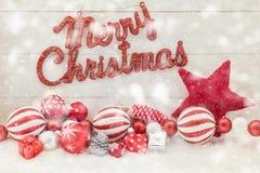 С Рождеством Христовым текст с снегом Стоковое Изображение