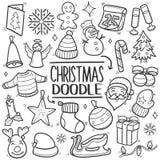 С Рождеством Христовым традиционный комплект притяжки руки значка doodle бесплатная иллюстрация