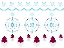 С Рождеством Христовым украшение с деревьями, звездами и венками Стоковое Изображение
