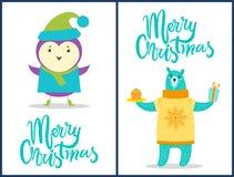 С Рождеством Христовым установленная животными иллюстрация вектора Стоковые Фотографии RF