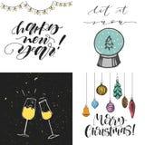 С Рождеством Христовым установленные поздравительные открытки Счастливые стекла Нового Года шампанского С Рождеством Христовым с  иллюстрация штока