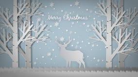 С Рождеством Христовым шаблон дизайна приветствию, бумажный стиль искусства Стоковые Изображения RF