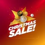 С Рождеством Христовым шаблон дизайна продажи стоковое изображение rf