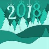 2018 с Рождеством Христовым xmas зимы леса origami вектора поздравительной открытки сделал сосну идти снег стиль ремесла бумажног Стоковое Изображение