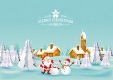 С Рождеством Христовым ландшафт вектор Бесплатная Иллюстрация