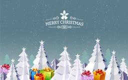С Рождеством Христовым ландшафт вектор Иллюстрация вектора