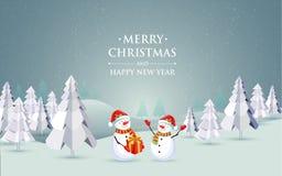 С Рождеством Христовым ландшафт Бесплатная Иллюстрация