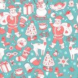 С Рождеством Христовым безшовная картина, счастливая предпосылка Нового Года, wra Стоковые Фотографии RF