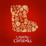 С Рождеством Христовым ботинок зимы печений пряника иллюстрация штока