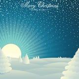 С Рождеством Христовым вектор ландшафта зимы Стоковое Фото