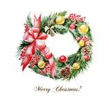 С Рождеством Христовым, венок акварели рождественской елки Бесплатная Иллюстрация