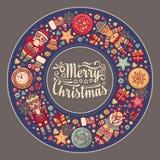 С Рождеством Христовым венок с игрушками рождества Стоковая Фотография RF