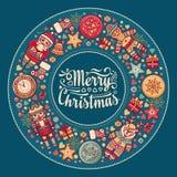 С Рождеством Христовым венок с игрушками рождества Стоковые Фотографии RF
