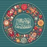 С Рождеством Христовым венок с игрушками рождества Стоковые Изображения
