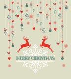 С Рождеством Христовым винтажное backgr северного оленя и безделушки Стоковые Изображения