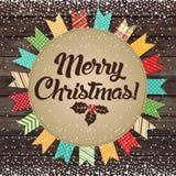 С Рождеством Христовым! Дизайн на деревянной предпосылке Иллюстрация вектора