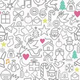 С Рождеством Христовым значки плана картины упаковочной бумаги Стоковое Изображение RF