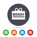 С Рождеством Христовым значок знака подарка Присутствующий символ бесплатная иллюстрация