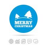 С Рождеством Христовым значок знака Символ деревьев Стоковое Изображение