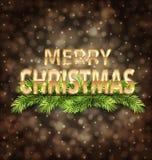С Рождеством Христовым золотой текст на темной предпосылке иллюстрация вектора