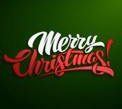 С Рождеством Христовым дизайн литерности надписи Иллюстрация вектора
