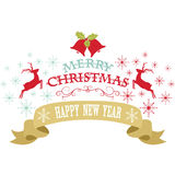 С Рождеством Христовым дизайн, снежинки, рождество колокол, северный олень, знамя, карточка счастливого Нового Года декоративная Стоковые Изображения