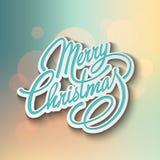 С Рождеством Христовым литерность вектора конструкция ретро Стоковые Изображения RF