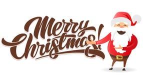 С Рождеством Христовым литерность и Санта Иллюстрация штока