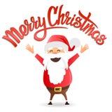 С Рождеством Христовым литерность и Санта Иллюстрация вектора