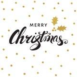 С Рождеством Христовым литерность руки с золотой хворостиной падуба Стоковая Фотография RF