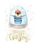 С Рождеством Христовым литерность с пингвином потехи watercolour Стоковые Фото