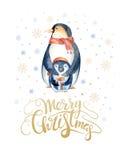 С Рождеством Христовым литерность с пингвином потехи watercolour Стоковая Фотография RF