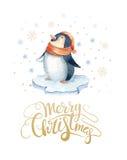 С Рождеством Христовым литерность с pinguin потехи watercolour invitation new year Стоковое Фото