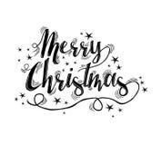 С Рождеством Христовым литерность цитаты с звездами Стоковое фото RF