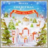С Рождеством Христовым и счастливая иллюстрация предпосылки Нового Года Стоковая Фотография RF