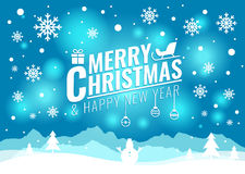 С Рождеством Христовым и счастливая карточка Нового Года - рождественская елка и снеговик снега на голубом светлом векторе предпо Стоковые Изображения RF