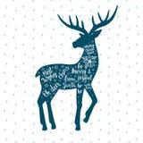 С Рождеством Христовым и счастливая карточка Нового Года с винтажными оленями Стоковое Изображение